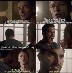 I love Protective!Derek, Possessive!Derek, CreeperWolf!Peter, Flirt!Peter and Haleslove!Stiles