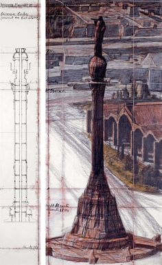 """Christo, Wrapped Monument to Cristobal Colón (Project for Barcelona) Drawing 1984 in two parts, 96 x 15"""" and 96 x 42"""" (244 x 38 cm and 244 x 106.6 cm) Pencil, charcoal, wax crayon and technical data"""