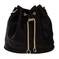 Mini Velvet Bucket Bag Black ($25) ❤ liked on Polyvore featuring bags, handbags, shoulder bags, heart purse, heart handbag, mini bucket bag, mini purse and bucket bags