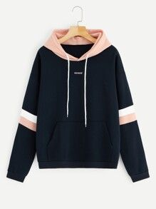 To find out about the Letter Embroidered Contrast Striped Hoodie at SHEIN, part of our latest Sweatshirts ready to shop online today! Pullover Hoodie, Sweater Hoodie, Cute Hoodie, Girls Fashion Clothes, Teen Fashion Outfits, Cute Sweatshirts, Hooded Sweatshirts, Men's Hoodies, Jugend Mode Outfits