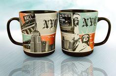 New York Metallic Mug - stylish mug featuring a very cosmopolitan design scheme on colored metallic panel backgrounds.