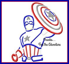 Captain America Sketch Digital Embroidery Machine Applique Design File 4x4 5x7 6x10 by Thanks4TheAdventure on Etsy