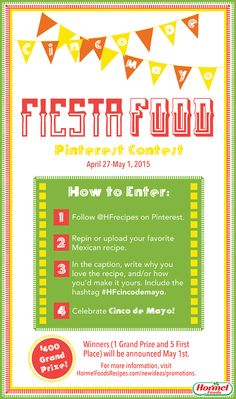 "**Closed** Cinco de Mayo is around the corner. What will you eat!? Enter our ""Fiesta Food"" Pinterest contest and gather ideas: http://ht.ly/Mbr0f #HFcincodemayo"