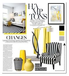 """""""Yellow: Black & White Details"""" by milica1940 ❤ liked on Polyvore featuring interior, interiors, interior design, home, home decor, interior decorating, NOVA, Universal Lighting and Decor, Seasonal Living and Chopra Center"""