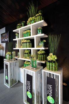 Bamboo and orchids helped integrate sponsor Garnier Fructis in Elle's greenroom.