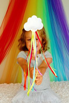 felt, stuffing, hot glue, long lollipop sticks and ribbon I want to make these! Rainbow party