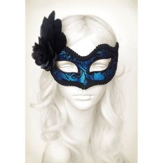 Blue Venetian Mask With Feathers And Rose ❤ liked on Polyvore featuring costumes, feather costume, masquerade costumes, white halloween costumes, blue costumes and rose halloween costume