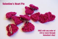 Pink Valentine's Heart Pin by BestCrochetBoutique on Etsy, $1.50