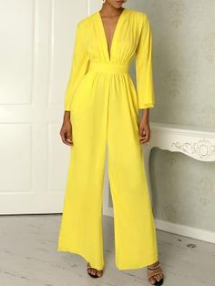 Ruched Plunge Flared Sleeve Wide Leg Jumpsuit We Miss Moda is a leading Women's Clothing Store. Offering the newest Fashion and Trending Styles. Fashion Designer, Casual Jumpsuit, Fashion Outfits, Womens Fashion, Style Fashion, Fashion Trends, Pattern Fashion, Pantone, Sleeve Styles