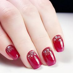 Quantity: Top Quality Charming Red Fake Nail With Glitter Acrylic Full Cover False Nails Square Head Nail Art. Nail Length: Nail Width: Put your nails in warm water for 2 minutes and nail sticker can be removed easier. Gel Nails At Home, New Year's Nails, Xmas Nail Designs, Nail Art Designs, Nails Design, Xmas Nails, Holiday Nails, Christmas Nails Glitter, Red Christmas