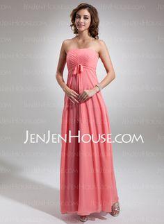 Bridesmaid Dresses - $116.69 - Empire Strapless Floor-Length Chiffon Bridesmaid Dress With Ruffle (007016767) http://jenjenhouse.com/Empire-Strapless-Floor-Length-Chiffon-Bridesmaid-Dress-With-Ruffle-007016767-g16767