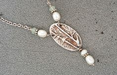"Sterling Silver (925), Aqua Quartz, & FW Pearl Bamboo Necklace, 16"", 6.0g"