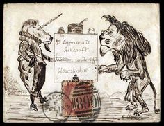 Hand Illustrated and Later Printed Envelopes: 1874 (Feb. 15th) pen and ink illustrated 'Lion & Unicorn' envelope sent from Windsor to Wotton-under-Edge with 1864–79 1d.