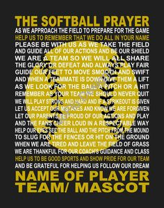The Softball Prayer personalized 11 X 14 by JoFloDesigns33 on Etsy