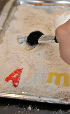 Learning the alphabet like an archaeologist --- but with a blush brush ... A fun way to practice alphabet letter matching!