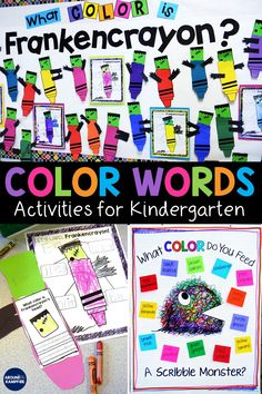 Learn ways to help students master color words as they build sight word vocabulary. Kindergarten and first grade students will love these fun teaching ideas and sight word activities for learning color words with Frankencrayon and Scribble Monster! Kindergarten Colors, Kindergarten Writing, Kindergarten Classroom, Kindergarten Activities, Classroom Resources, Classroom Ideas, Teaching Reading, Primary Resources, Preschool Colors