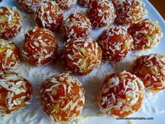 Turkish Recipe-- Cezerye; Caramalised carrot paste with nuts.  Start with shredded carrots and cook.  Add chopped hazelnuts or walnuts and chill.  Form into  balls or cut in squares and coat with coconut.