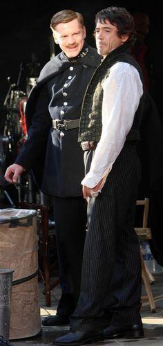 "Robert Downey Jr. and William Houston (""Clarkie"") on the set of ""Sherlock Holmes"" (Warner Bros., 2009)."