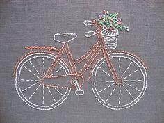 27. vélo #corail - 34 motifs de #broderie, que vous allez à l'amour... → DIY
