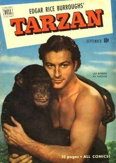 Lex Barker as Tarzan, Dell Comic Book Cover Tarzan Of The Apes, Tarzan And Jane, Lex Barker Tarzan, Comic Book Covers, Comic Books, Book Cover Page, Mejores Series Tv, African Jungle, Old Comics