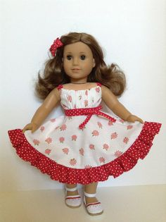 American Girl 18inch Doll Clothes  Red/White by HFDollBoutique, $24.00