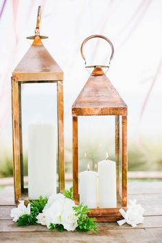 Wedding Decor - Lanterns | See more of the wedding on SMP: http://www.StyleMePretty.com/2014/03/14/bohemian-coastal-wedding-at-terranea-resort/ Photography: Rebecca Fishman, Birds Of A Feather