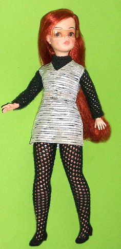 Vintage Estrela Susi Doll | Red head 1st issue Susi doll |wearing copy of a genuine Susi outfit. - fishnet stockings