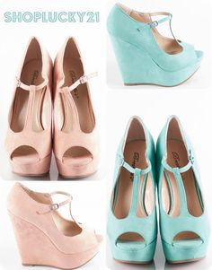 Hot Peep toe wedges for Spring. Which color is your favorite? Pastel Pink or Sea Foam Blue?