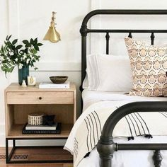 modern farmhouse master bedroom with iron bed and farmhouse bedding, nightstand decor with brass sconce, nightstand styling and neutral bedroom decor, rustic bedroom design Master Bedroom Design, Home Decor Bedroom, Bedroom Ideas, Bedroom Designs, Diy Bedroom, Bed Ideas, Bed Side Table Ideas, Trendy Bedroom, Neutral Bedrooms