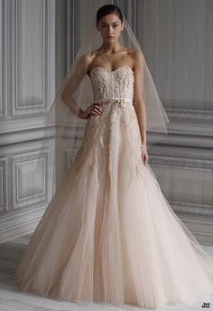 Monique Lhuillier 2012. I do not care for strapless but pthis dress could be modified quite easily!