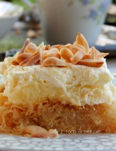 Food for thought: Εκμέκ κανταΐφι Greek Sweets, Greek Desserts, Fancy Desserts, Greek Recipes, Easy Cake Recipes, Sweets Recipes, Greek Cake, Greek Cookies, Cake Cookies