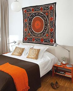 instead of art over a bed in a bedroom--don't have to worry about earthquakes