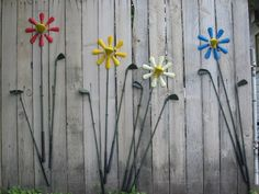 Golf clubs and shoe horns make up this flower garden
