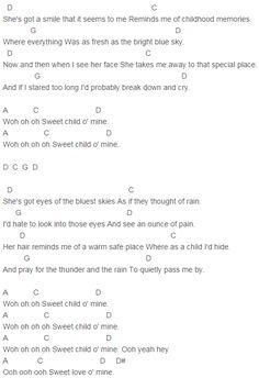 Guns N' Roses - Sweet Child O' Mine Chords Tune Down Half Step