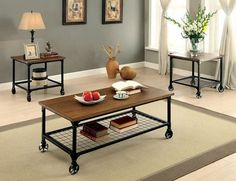 3 PC Furniture of Amercia Ventura I Collection Coffee Table & End Table Set CM4803-3PK