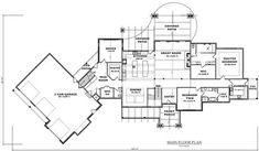 It comes with an unfinished basement that would add 2080 square feet of heated and cooled living space if you chose to finish it according to the suggested floor plan, with 1543 square feet of unfinished storage. #houseplan #basement Rustic House Plans, French Country House Plans, Barn House Plans, Craftsman House Plans, New House Plans, Dream House Plans, Mountain Home Interiors, Rustic Home Design, Rustic Homes