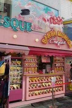 Pink street crepe shop in Harajuku, Tokyo, Japan