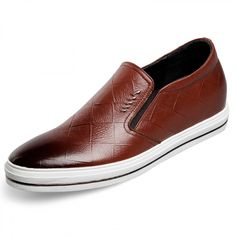 ecd0baf2d45 2017 Brown men height loafers 2.4inch / 6cm slip on calf leather increasing  casual shoes