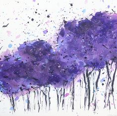 ORIGINAL Cotton Candy Trees Watercolor Painting by SweetMurmur, $28.00