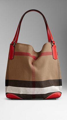 Medium Canvas Check Tote Bag | Burberry