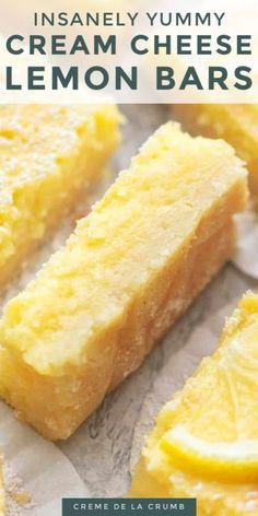 Lemon Dessert Recipes, Sweet Recipes, Baking Recipes, Cookie Recipes, Desserts With Lemon, Recipes With Lemon, Healthy Lemon Desserts, Lemon Cream Cheese Bars, Lemon Cheese
