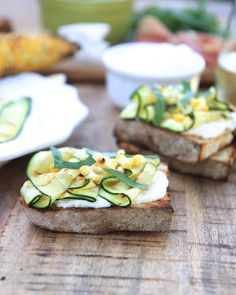 Grilled Zucchini and Corn Crostini with Lemon Basil Whipped Ricotta