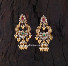 Gorgeous Polki Gold Buttalu from creations jewellery, bangalore in chandbali design. The lovely chandbali and jhumka fusion earrings Gold Jhumka Earrings, Gold Bridal Earrings, Gold Earrings Designs, Bridal Jewelry, Antique Earrings, Diamond Earrings, Jhumka Designs, Gold Designs, Simple Designs