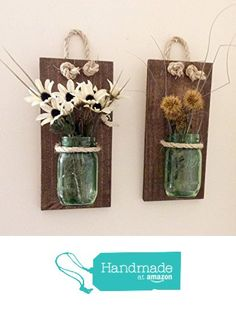 Mason Jar Sconce (SET OF TWO) Handcrafted Rustic Wall Decoration Mason Jar Hanging Vase Reclaimed Wood Sconce Reclaimed. Mason Jar Projects, Mason Jar Crafts, Bottle Crafts, Rustic Wall Decor, Rustic Walls, Shabby Chic Decor, Art Mural Palette, Pallet Wall Art, Wood Wall