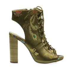 corset, lace up, combat, military, block heel, stacked, women, shoes, bootie, ankle boots, peep toe, open back, embroidery, stitches, imperial, oriental, green, olive