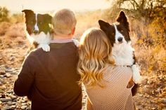 The matching dogs, the matching expressions, that golden hour light .... What's NOT to love about this super-cute engagement photo? http://thestir.cafemom.com/love_sex/187031/16_adorable_ways_to_get