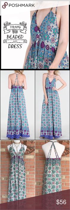 Beaded Stappy Maxi Dress Beautifully Colored floral print Maxi dress; extremely detailed with intricate interlaced straps and cute boho beading in multiple places; great cotton material. Boutique Dresses