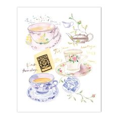 "Blue tea print Archival giclee reproduction print from my watercolor illustration. Signed with pencil. Printed on fine art "" BFK Rives "" hot-pressed paper, smooth surface, 140 lb, 100% cotton ( Size :"