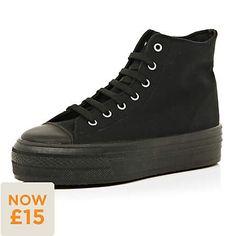black flatform high tops - high tops - shoes / boots - women - River Island