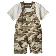 "Boys Rock ""Later"" Alligator Camo Tee & Shortalls Set - Baby Boy"